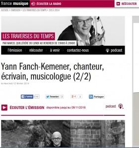 France Musique : le livre «Chant de vision» dans l'émission Les Traverses du temps