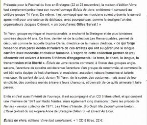 Pour la venue des TRI YANN au festival du livre en Bretagne de Guérande, stand éditions Vivre tout simplement